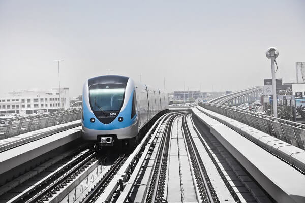 A shot of an electric train in a railway